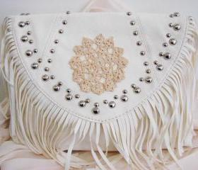 Country girl fringe cream purse